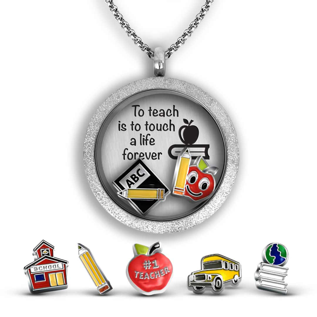 2 School Book Charms Antique Silver Tone Apple Teacher Charms 2 Sided SC2434